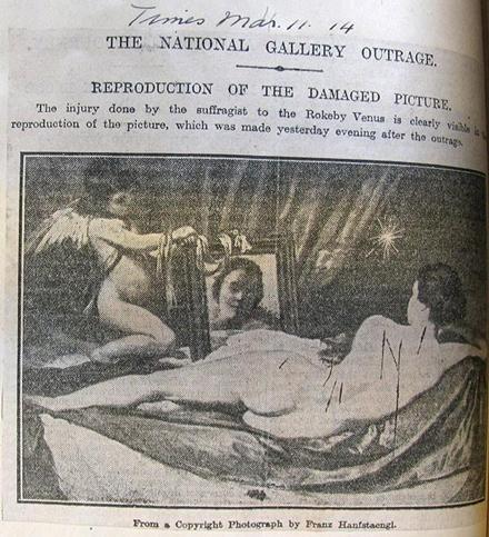 Фотография поврежденной «Венеры Рокби» Веласкеса, напечатанная в The Times 11 марта 1914 года                                        © Архив Музея Виктории и Альберта