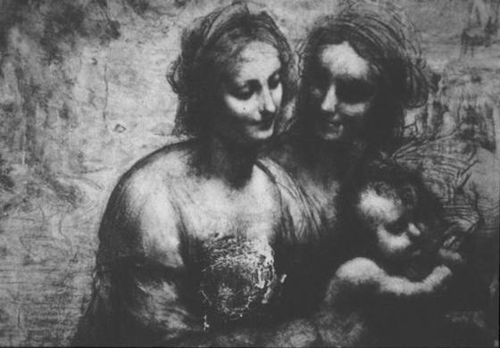 4Поврежденная  выстрелом картина Леонардо да Винчи «Богоматерь с Младенцем, святой  Анной и Иоанном Крестителем». Ок. 1500. Мел, уголь, бумага, закрепленная  на холсте                                                                                        © Национальная галерея, Лондон