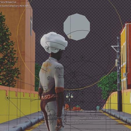 Скриншот работы над анимационным проектом Mariach Sentai Warriors, Blender