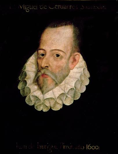 Портрет Мигеля де Сервантеса с подписью «Хуан деХауреги. 1600г.». Художник не установлен (подпись фальсифицирована). XVIIв., добавления XIXв.