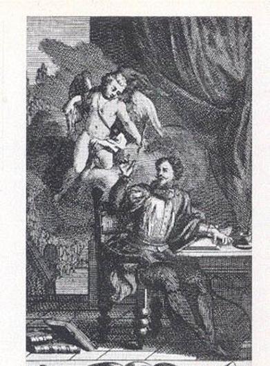 Портрет Сервантеса. Неизвестный художник. Гравюра на меди. Выполнен для издания «Назидательных новелл». Амстердам. 1705
