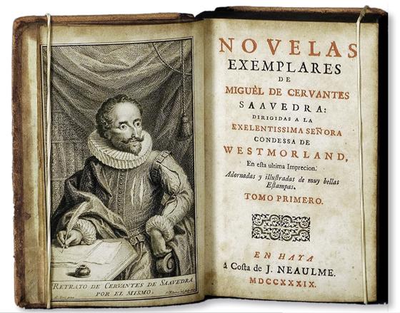 Портрет Сервантеса. Гравюра на меди Якоба Фолкема, зеркальная версия рисунка Уильяма Кента. 1739