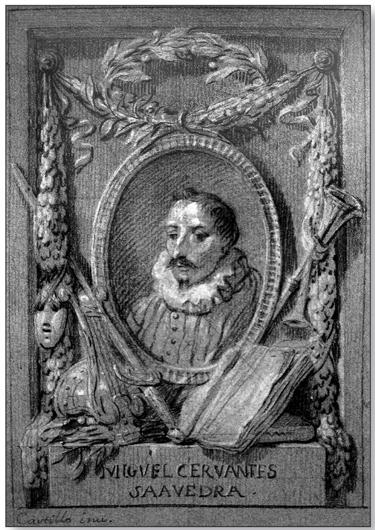 Фронтиспис к «Дон Кихоту» с портретом Сервантеса. Рисунок Хосе дельКастильо. 1774