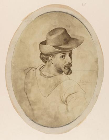 Портрет молодого Сервантеса. Фотография утраченного рисунка Эдуардо Кано делаПеньи. Опубликована в 1864г.
