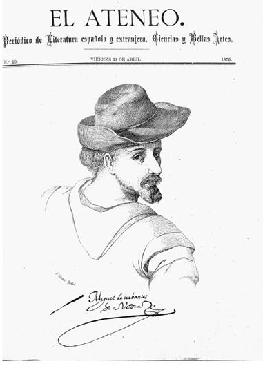Портрет молодого Сервантеса с утраченного рисунка Эдуардо Кано делаПеньи. Обложка журнала ElAteneo. 1875