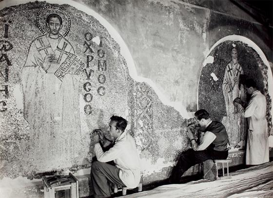 Реставрация мозаик северного тимпана Св. Софии / © Chora Museum