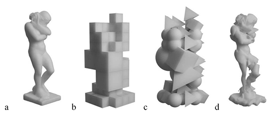Этапы огранки 3D-фигуры алгоритмом. Quentin Corker-Marin, Alexander Pasko, Valery Adzhiev. «4D Cubism: Modeling, Animation, and Fabrication of Artistic Shapes»
