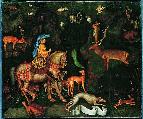 Пизанелло. Видение святого Евстафия. Около 1438–1442. Дерево, темпера; 54,8×65,5