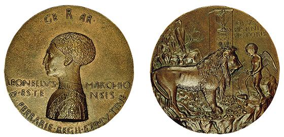 Пизанелло. Медаль в ознаменование второго бракосочетания Леонелло д'Эсте (аверс и реверс). 1441–1444. Бронза; диаметр 10,08