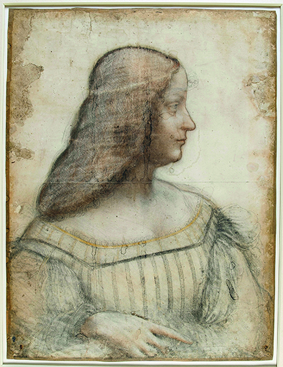 Леонардо да Винчи. Портрет Изабеллы д'Эсте. 1499–1500. Грунтованная белая бумага, черный мел, древесный уголь, сангина, растушевка, пастель; 61×46,5