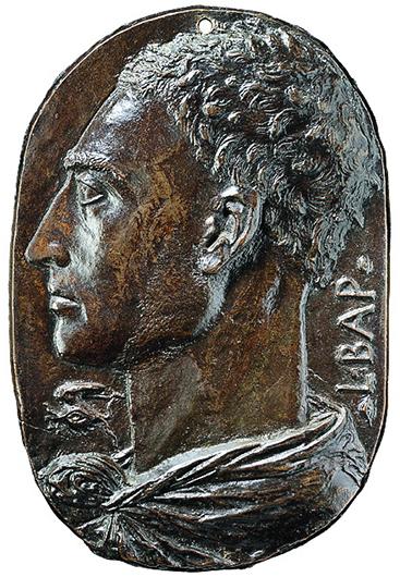 Леон Баттиста Альберти. Автопортрет (аверс). Около 1435. Бронза; 20,1×13,6 (неправильный овал)