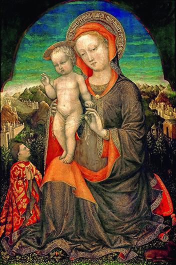 Якопо Беллини. Мадонна с Младенцем и поклоняющимся Леонелло д'Эсте. Около 1450. Дерево, темпера; 60×40