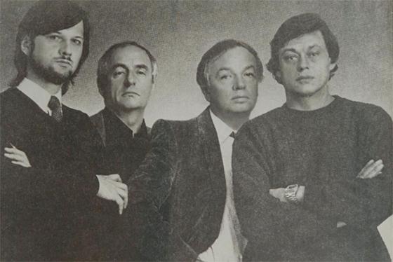 Алексей Рыбников, Марк Захаров, Андрей Вознесенский и Николай Караченцов. 1981 © Архив Алексея Рыбникова